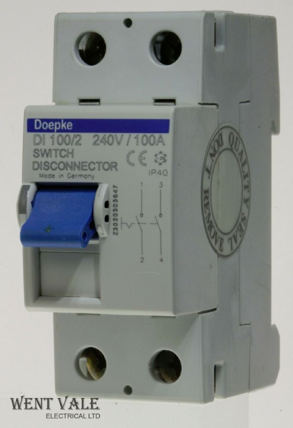 Doepke DI 100/2 - 100a Double Pole Switch Disconnector Used